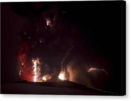 Eyjafjallajokull Canvas Print - Volcanic Lightning, Iceland, April 2010 by Olivier Vandeginste