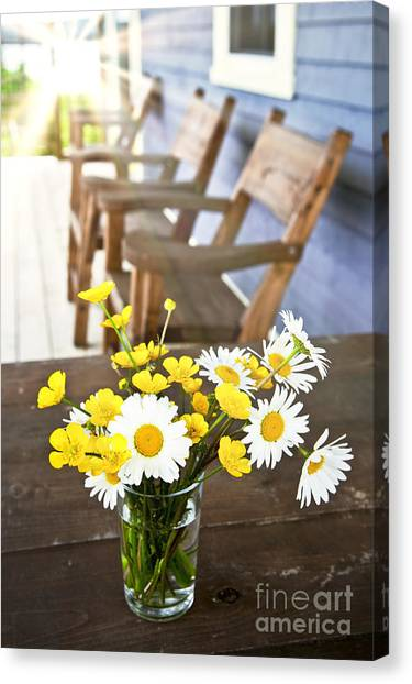 Chairs Canvas Print - Wildflowers Bouquet At Cottage by Elena Elisseeva