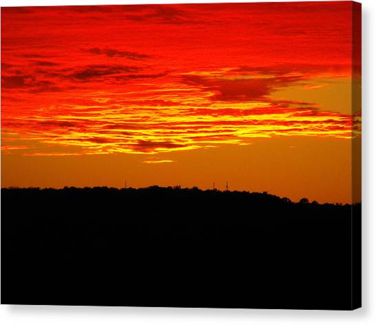 Winter Sunset In Texas Canvas Print by Rebecca Cearley