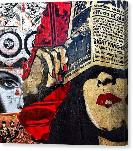 Lips Canvas Print - Wynwood - Miami by Joel Lopez