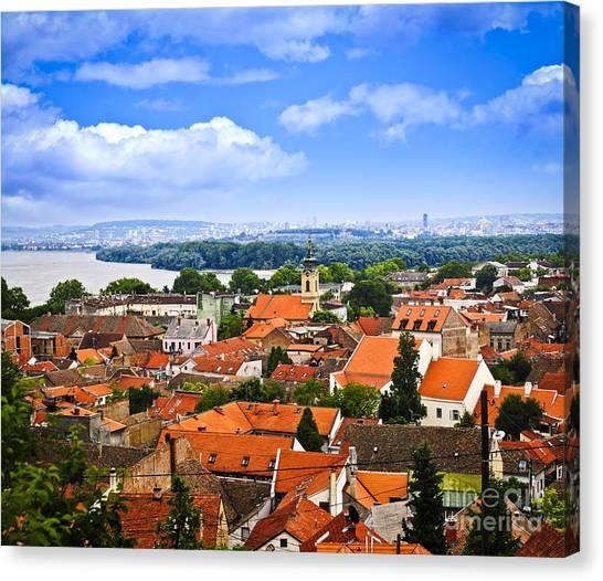 Danube Canvas Print - Zemun Rooftops In Belgrade by Elena Elisseeva