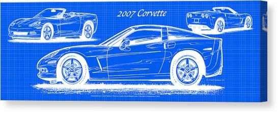 2007 Corvette Blueprint Series Canvas Print