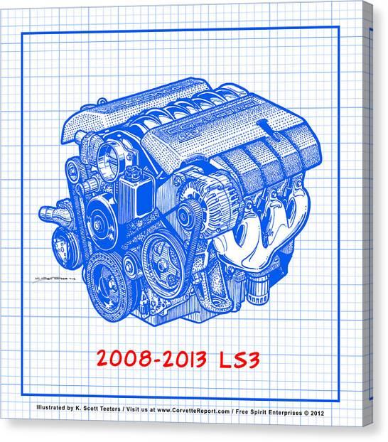 2008-2013 Ls3 Corvette Engine Blueprint Canvas Print