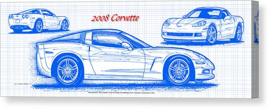 2008 Corvette Blueprint Canvas Print