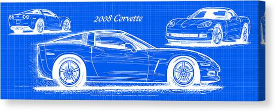 2008 Corvette Reverse Blueprint Canvas Print