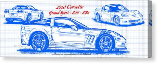 2010 Corvette Grand Sport - Z06 - Zr1 Blueprint Canvas Print