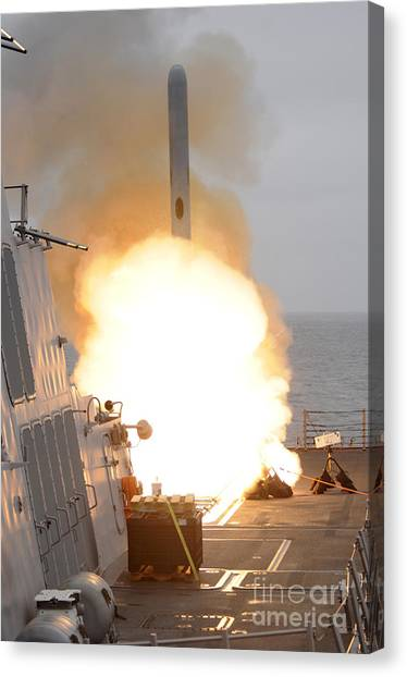 Warheads Canvas Print - A Tomahawk Missile Launch Aboard Uss by Stocktrek Images