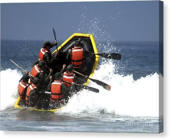 Navy Seal Canvas Print - Basic Underwater Demolitionseal by Stocktrek Images
