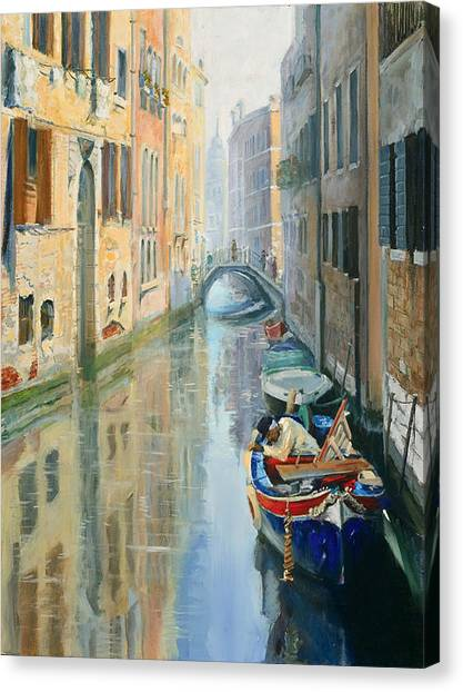 Canals Of Venice  Canvas Print by Larisa Napoletano