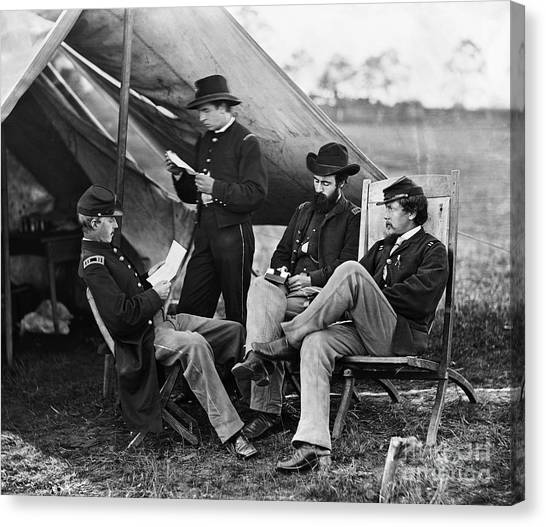 Army Of The Potomac Canvas Print - Civil War: Union Officers by Granger