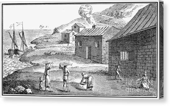 Smokehouses Canvas Print - Curing Fish, 18th Century by Granger