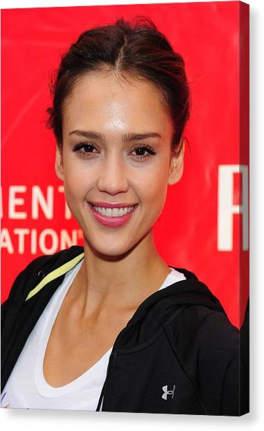 Jessica Alba Canvas Print - Jessica Alba At A Public Appearance by Everett