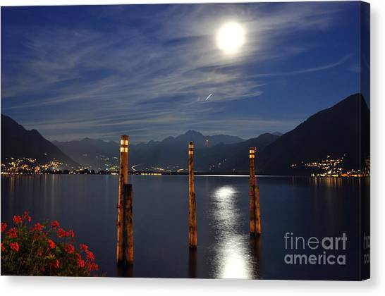 Moon Light Over An Alpine Lake Canvas Print