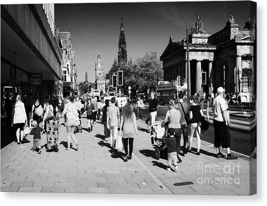 Shoppers And Tourists On Princes Street Edinburgh Scotland Uk United Kingdom Canvas Print by Joe Fox