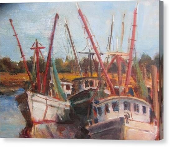 3 Shrimpers At Dock Canvas Print by Albert Fendig