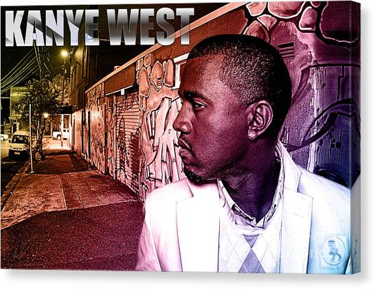 Rihanna Canvas Print - Street Phenomenon Kanye West by The DigArtisT