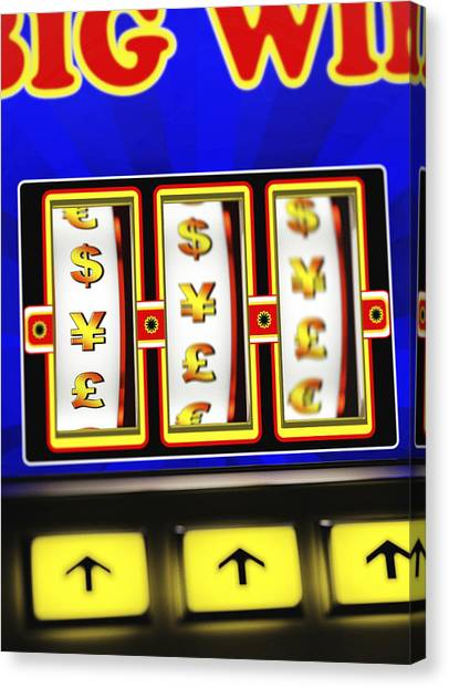 Yen Canvas Print - Wheels Of A Currency One-armed-bandit Spinning by Doug Armand