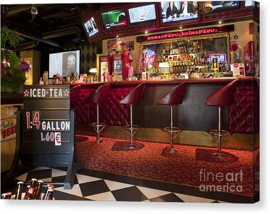 Iced Tea Canvas Print - Bar At An American Style Diner by Jaak Nilson