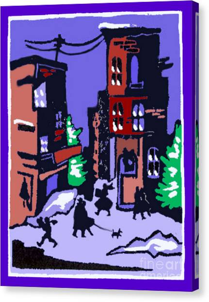 Christmas Street Scene Canvas Print