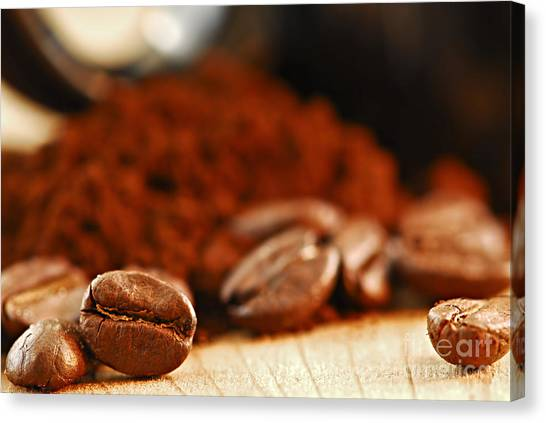 Coffee Beans Canvas Print - Coffee Beans And Ground Coffee by Elena Elisseeva
