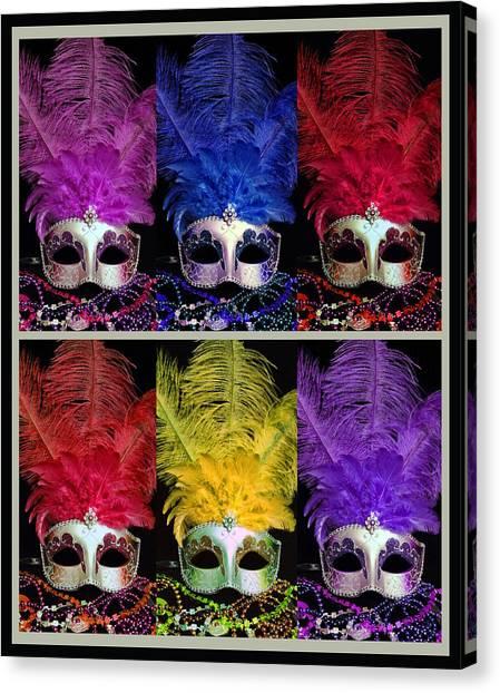 Colorful Mardi Gras Masks Canvas Print