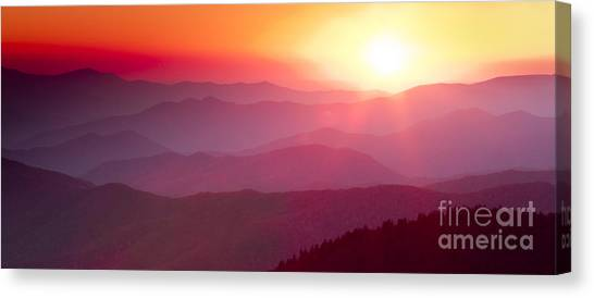 Mountain Sunsets Canvas Print - Great Smokie Mountains Sunset by Dustin K Ryan