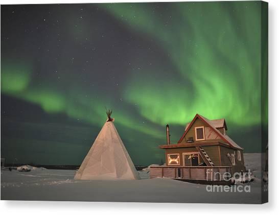 Northwest Territories Canvas Print - Northern Lights Above Village by Jiri Hermann