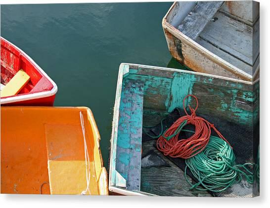 4 Row Boats Canvas Print