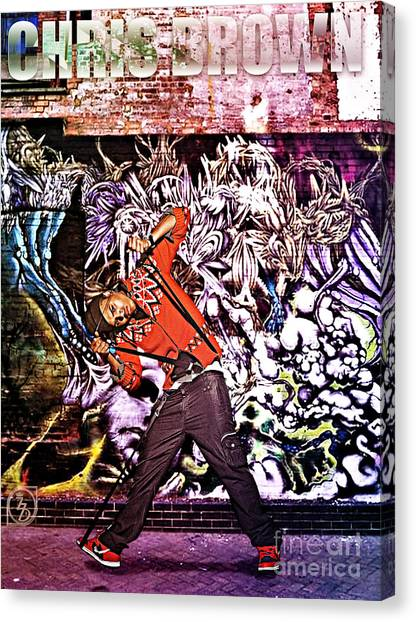 Rihanna Canvas Print - Street Phenomenon Chris Brown by The DigArtisT