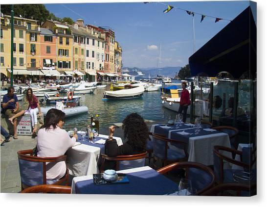 Portofino Cafe Canvas Print - Portofino In The Italian Riviera In Liguria Italy by David Smith