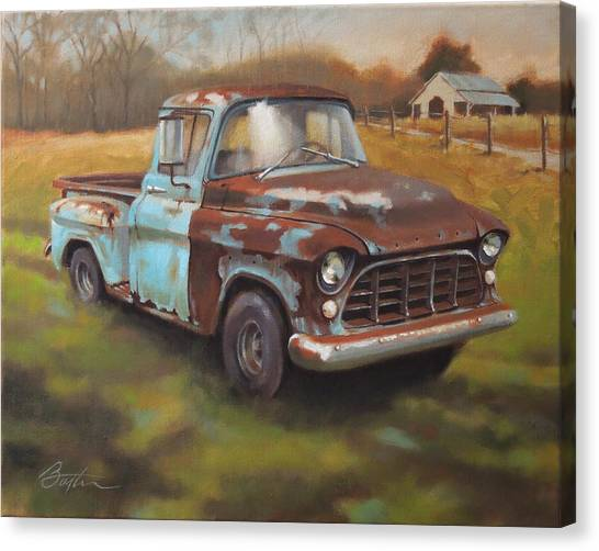 Vintage Chevy Truck Canvas Print - 55 Chevy Truck by Todd Baxter