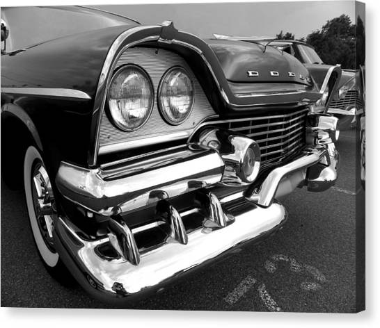 58 Plymouth Fury Black And White Canvas Print