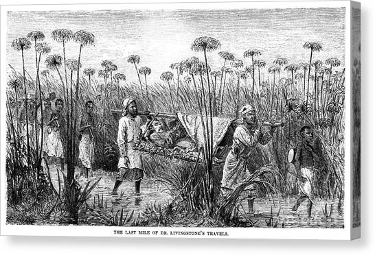 Bangweulu Swamps Canvas Print - David Livingstone (1813-1873) by Granger