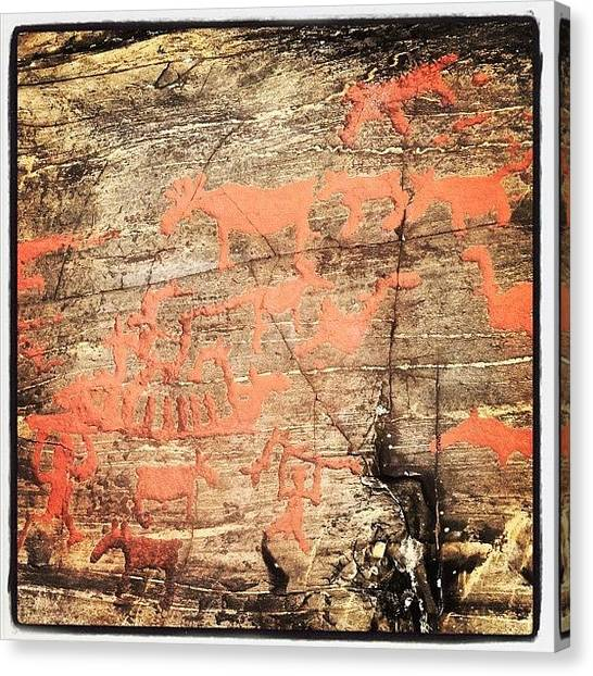 Hunting Canvas Print - 6000 Year-old Rock Drawings by Alan Magor