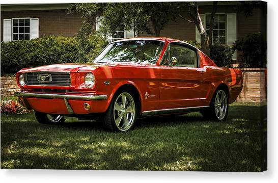 Ponies Canvas Print - '66 Mustang by Douglas Pittman
