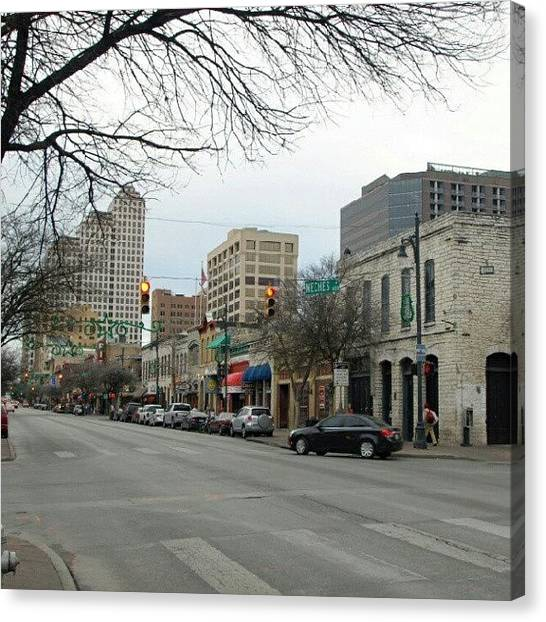 Austin Canvas Print - 6th Street In Winter by James Granberry