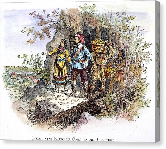Indian Corn Canvas Print - Pocahontas (1595?-1617) by Granger