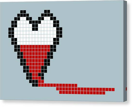 Pixelated Canvas Print - 8-bit Style Bleeding Heart by Malte Mueller