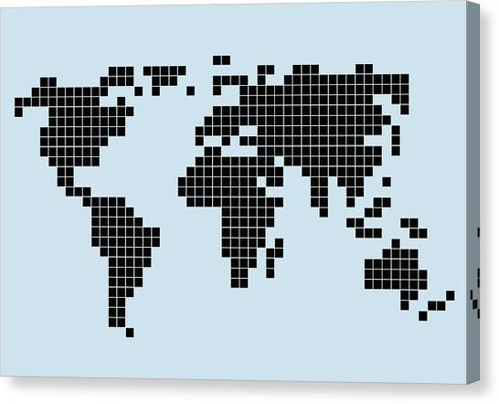 Pixelated Canvas Print - 8-bit Style World Map by Malte Mueller