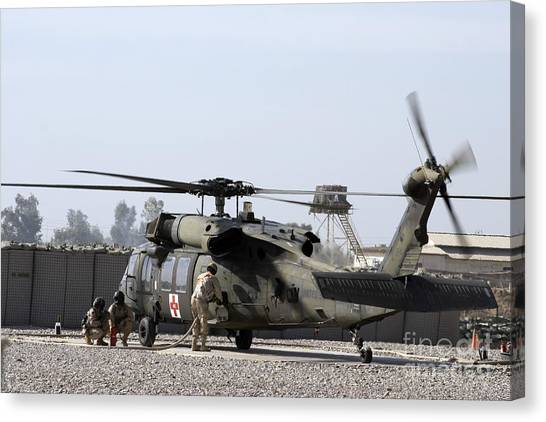 Medivac Canvas Print - A Uh-60 Blackhawk Medivac Helicopter by Terry Moore
