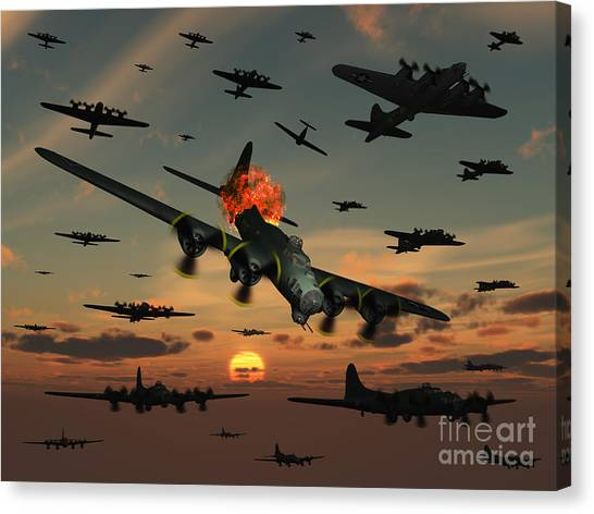 Aerial View Canvas Print - A B-17 Flying Fortress Is Set Ablaze by Mark Stevenson