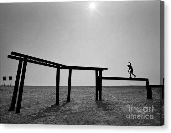 Balance Beam Canvas Print - A Basic Underwater Demolition Seal by Michael Wood