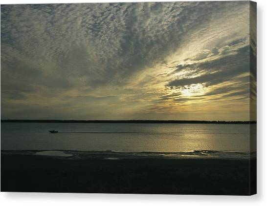 Northwest Territories Canvas Print - A Boat Speeds Past The Shoreline by Raymond Gehman