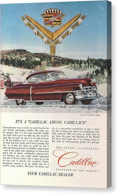 Classic Car Drawings Canvas Print - A Cadillac Among Cadillacs 1952 by Georgia Fowler