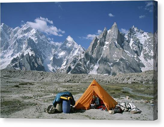 Karakoram Canvas Print - A Camp Set Up In Charakusa Valley by Jimmy Chin
