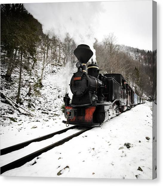 A Century Train Canvas Print by Ovidiu Bastea