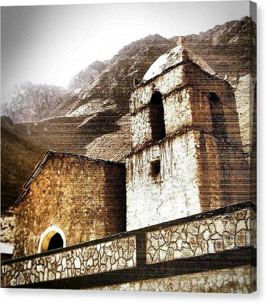 Peruvian Canvas Print - A #chapel Somewhere Down #colca #canyon by Yannick Menard