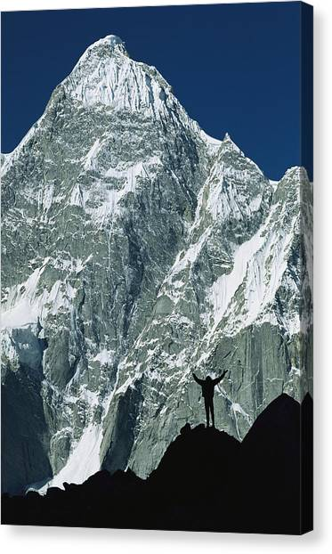Karakoram Canvas Print - A Climber Silhouetted Against Mountains by Jimmy Chin