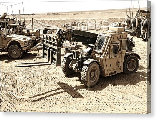 Forklifts Canvas Print - A Combat Logistics Battalion by Stocktrek Images