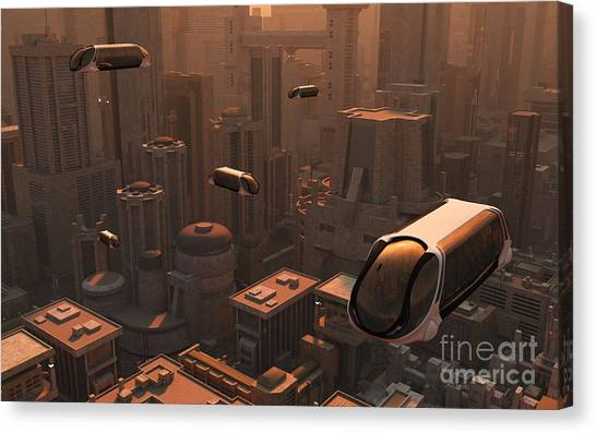 Bullet Trains Canvas Print - A Conceptual Image Of A Futuristic City by Mark Stevenson